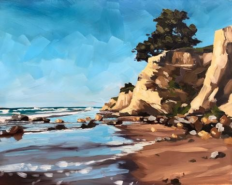 """Leadbetter Rocks and Beach - 8x10"" original fine art by Sharon Schock"