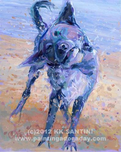 """""""Painting a Dog a Day Valentine Giveaway!!"""" original fine art by Kimberly Santini"""
