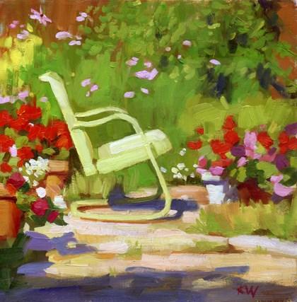 """Green chair and geraniums in the garden"" original fine art by Kathy Weber"