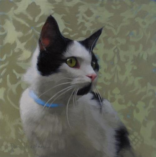 """""""Coby the black spotted kitty, a new painting"""" original fine art by Diane Hoeptner"""
