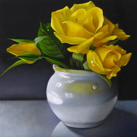 """""""Yellow Roses 6x6"""" original fine art by M Collier"""