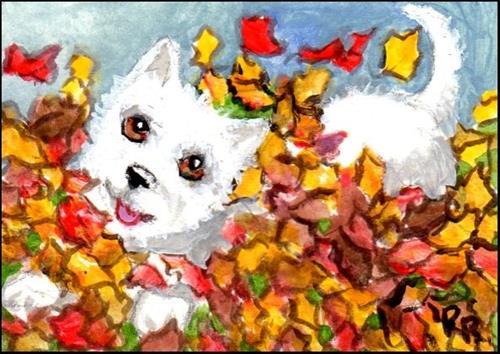 """""""Happy Dog in Autumn Leaves"""" original fine art by Patricia Ann Rizzo"""