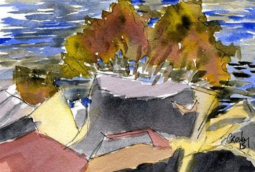 """Bay Side Rocks And Shrubs"" original fine art by Donna Crosby"