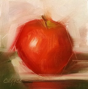 """Apple on Paper"" original fine art by Cindy Haase"