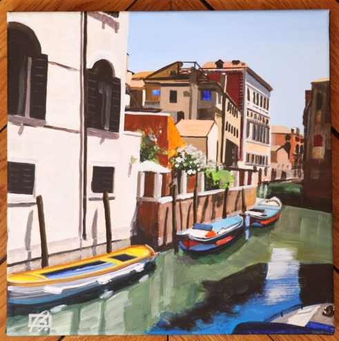 """Venice Boats in the Afternoon"" original fine art by Andre Beaulieu"