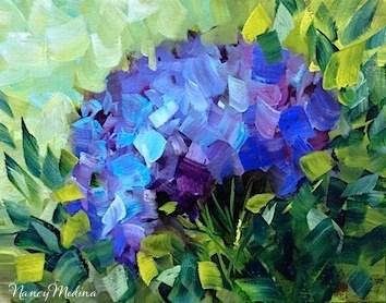 """""""Sun Seeker Blue Hydrangea by Texas Flower Artist Nancy Medina"""" original fine art by Nancy Medina"""