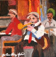 """New Orleans Jazz Band"" original fine art by JoAnne Perez Robinson"