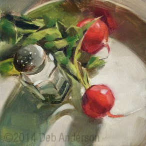"""""""Oil Painting: Radishes"""" original fine art by Deb Anderson"""
