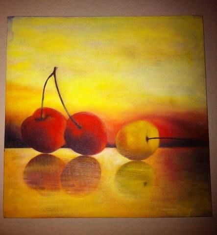 """Cherries"" original fine art by Cheryl J Smith"