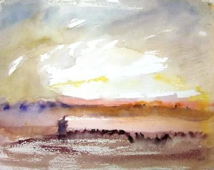 """Red Lighthouse"" original fine art by Nancy Hall"