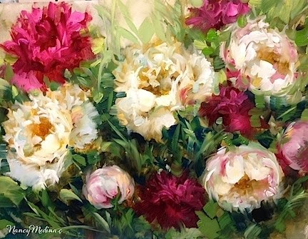 """Pink Sorbet Peonies and an Italy Workshop Online"" original fine art by Nancy Medina"