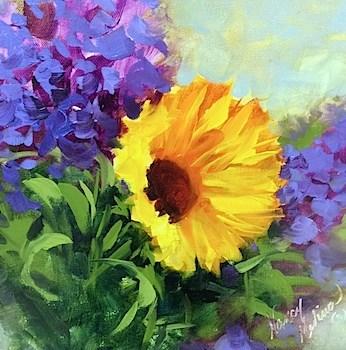 """Bright Days Sunflower and a North Texas Workshop - Flower Painting Classes by Nancy Medina Art"" original fine art by Nancy Medina"