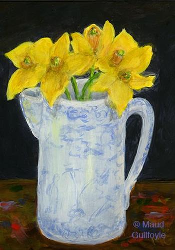 """""""Heirloom 8, Blue and White China with Daffodils on Artist's Table"""" original fine art by Maud Guilfoyle"""