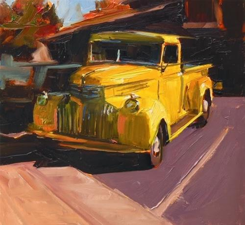 """""""Yellow Truck  old truck oil painting by Robin Weiss"""" original fine art by Robin Weiss"""