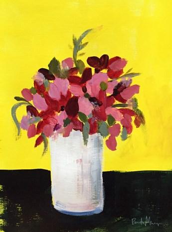 """pink on yellow"" original fine art by Pamela Munger"