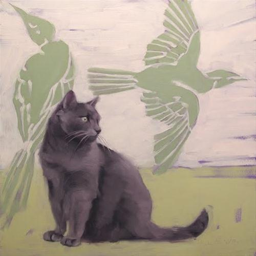 """Ways of Cat 2 painting"" original fine art by Diane Hoeptner"