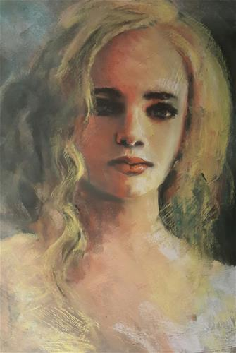 """Pastel girl"" original fine art by Rentia Coetzee"