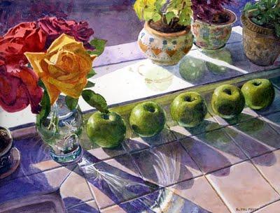 """""""Watercolor: Apples & Roses"""" original fine art by Belinda Del Pesco"""