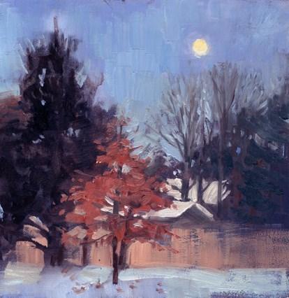 """Moon setting"" original fine art by Kathy Weber"
