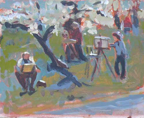 """""""Artists in the Orchard"""" original fine art by Darlene Young"""