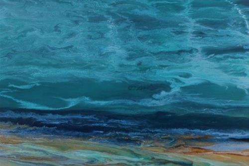 """Abstract Seascape,Coastal Living Decor,Beach Art Beautiful Storm IV by Colorado Contemporary Artis"" original fine art by Kimberly Conrad"