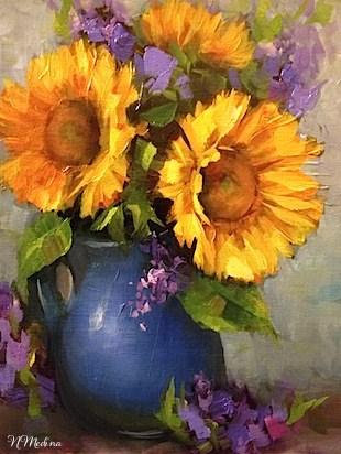 """Dream Sunflowers and Dallas Arboretum Blooms by Texas Flower Artist Nancy Medina"" original fine art by Nancy Medina"