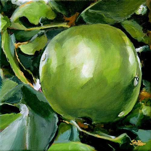 """1470 Green Apple"" original fine art by Dietmar Stiller"