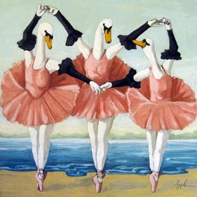 """""""Swan Lake fantasy original oil painting"""" original fine art by Linda Apple"""