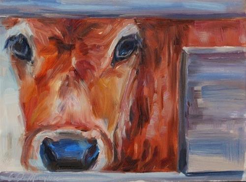 """""""Calf - Original oil by Carol DeMumbrum, Day 12"""" original fine art by Carol DeMumbrum"""