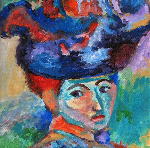"""Matisse's - Woman with a Hat - variation"" original fine art by Nan Johnson"