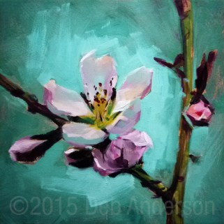 """""""Oil Painting of a Peach Blossom"""" original fine art by Deb Anderson"""
