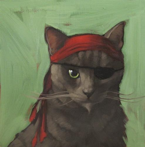 """""""Shorthair Pirate, character cat no. 2"""" original fine art by Diane Hoeptner"""