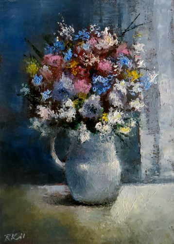 """""""Flowers by the Blinds"""" original fine art by Bob Kimball"""