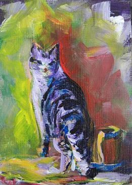 """""""2079 - Kitty by a Red Shed - ACEO Pal Series"""" original fine art by Sea Dean"""