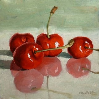 """Cherries On Glass"" original fine art by Michael Naples"