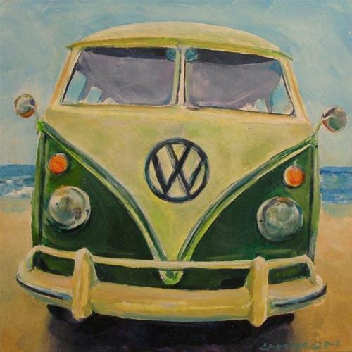 """GREEN KOMBI"" original fine art by Brian Cameron"