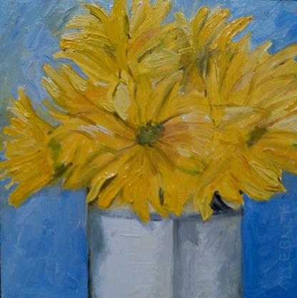 """""""bunch of yellow flowers"""" original fine art by Jo Allebach"""
