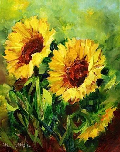 """Indian Summer Sunflowers and a Holiday Painting Giveaway by Texas Artist Nancy Medina"" original fine art by Nancy Medina"