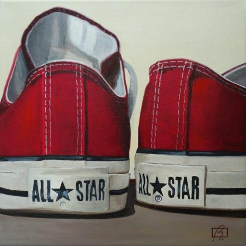 """""""Red Wine Converse II"""" original fine art by Andre Beaulieu"""