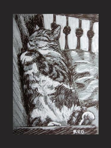 """Sleeping Kitty - ACEO"" original fine art by Rhett Regina Owings"
