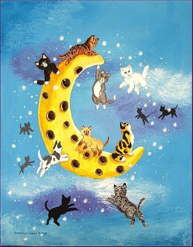 """Cats on the Moon"" original fine art by Patricia Ann Rizzo"