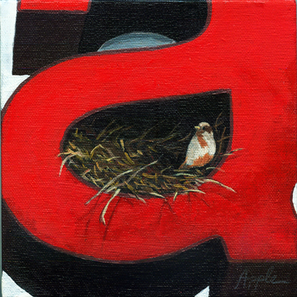 """Bird Nest - animal art oil painting"" original fine art by Linda Apple"