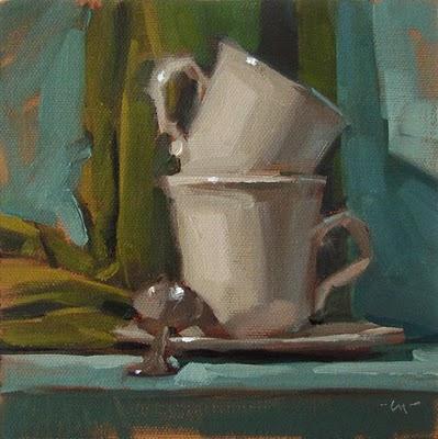"""Two Cups, One Spoon"" original fine art by Carol Marine"