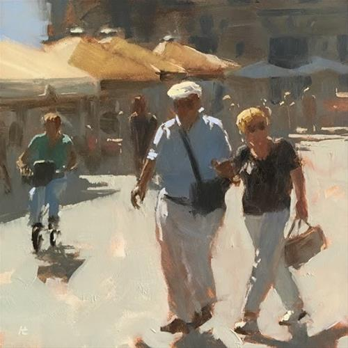 """LES TOURISTES, MONTPELLIER, FRANCE"" original fine art by Helen Cooper"