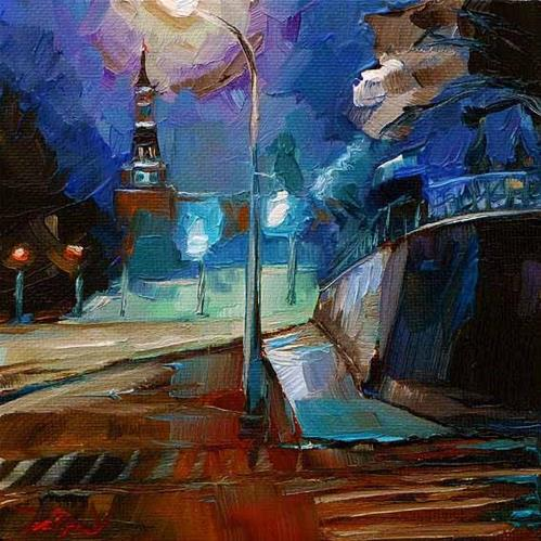 """Wassiljewski Spusk, Kreml"" original fine art by Jurij Frey"