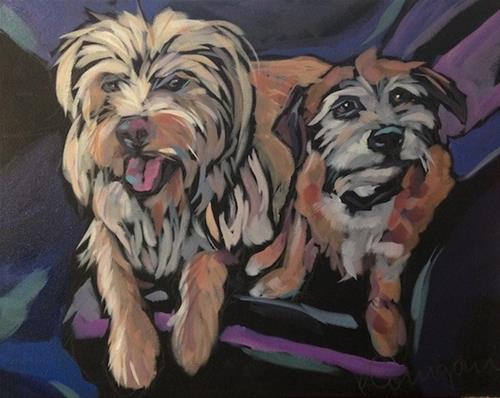 """Shotgun Seat Sharing"" original fine art by Kat Corrigan"