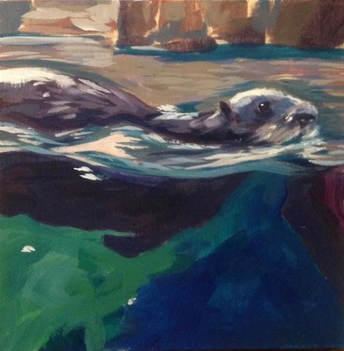 """Sea Otter Swimming"" original fine art by Kat Corrigan"