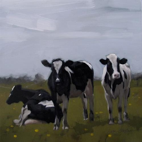 """Three Cows amish country farm animals in field"" original fine art by Diane Hoeptner"