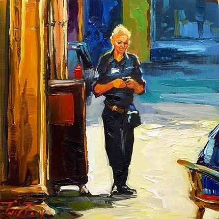 """""""Im Straßencafé"""" original fine art by Jurij Frey"""