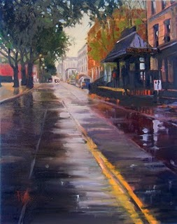 """""""Occidental Park  Seattle city scenes, cityscape oil painting"""" original fine art by Robin Weiss"""